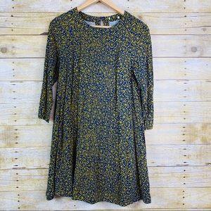 3/4 Sleeve Fall Dress Blue Mustard Medium